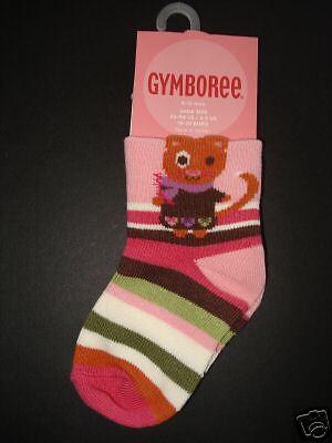 GYMBOREE LITTLE PALS KITTY N STRIPE 2-PAIR OF GIRLS SOCK 0 3 6 12 18 24 NWT