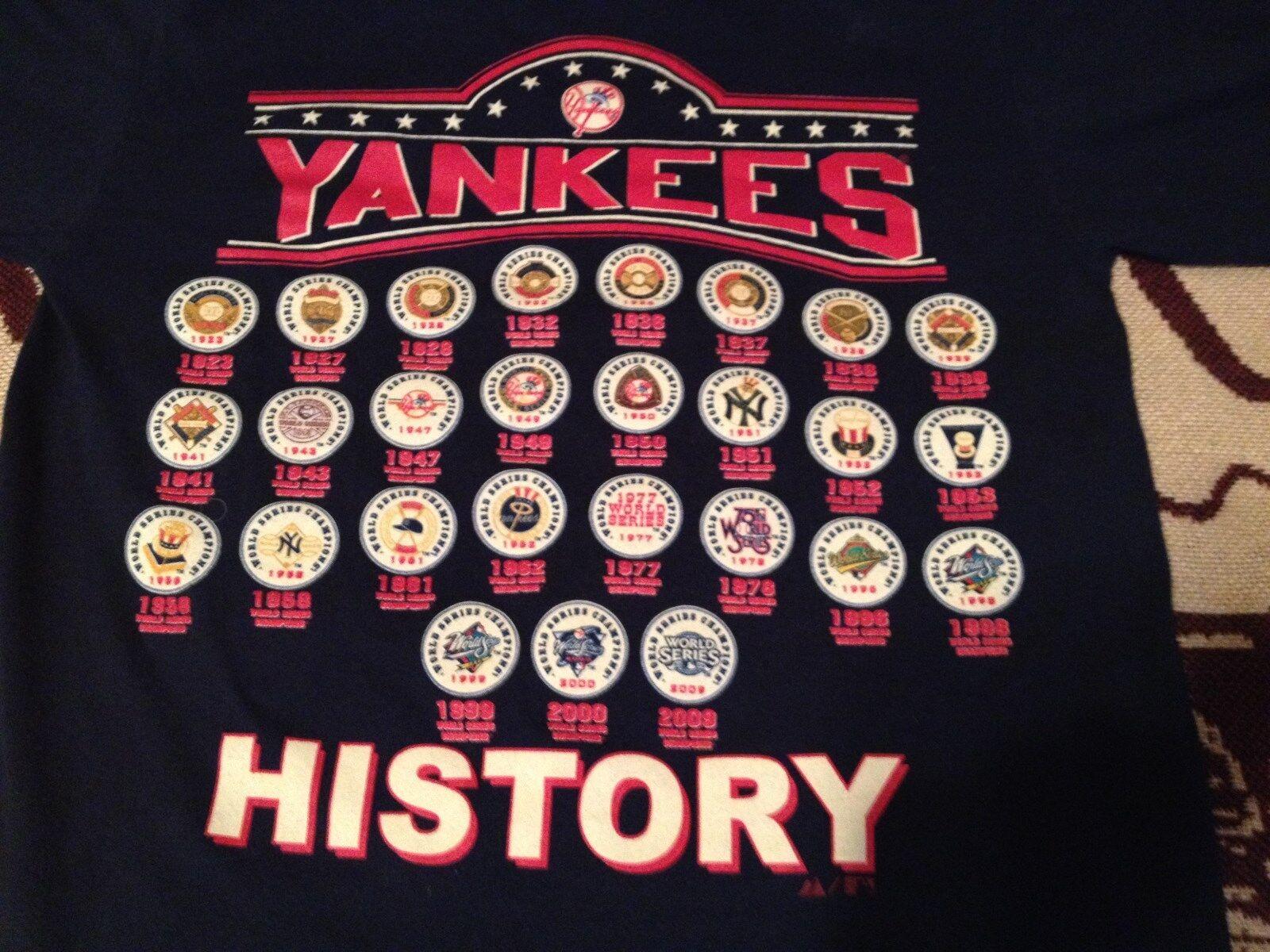 MAJESTIC COTTON NEW YORK YANKEE  WORLD SERIES HISTORY SHORT SLEEVE SMALL T-SHIRT