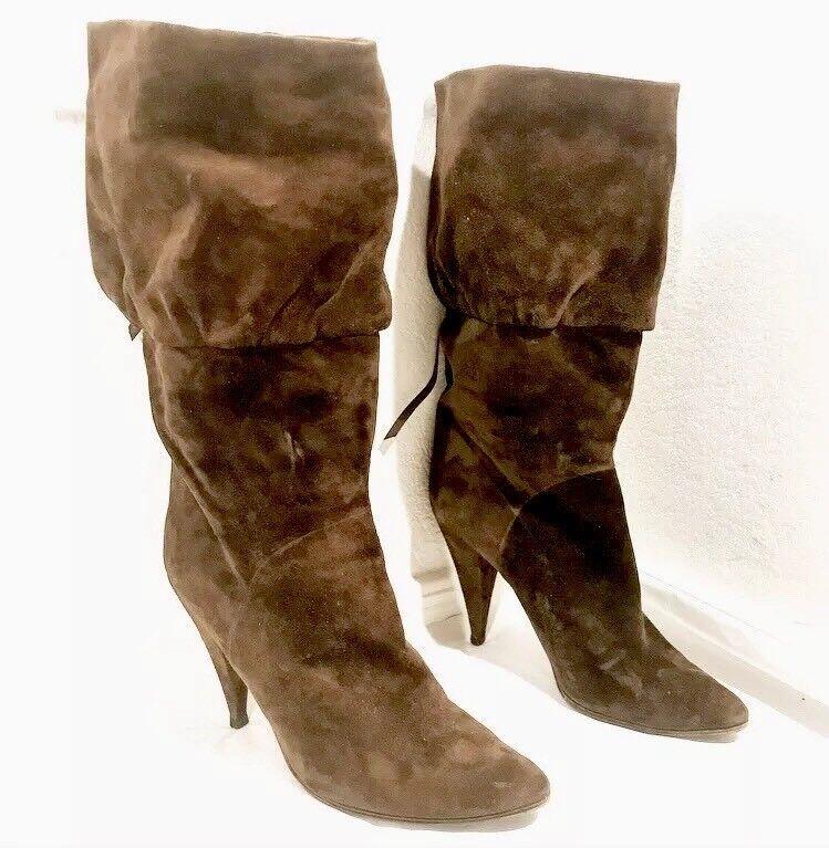 Casadei Stiefel Braun Suede Pointed Toe Heel Tall Knee 9 8 9 Knee b2a276