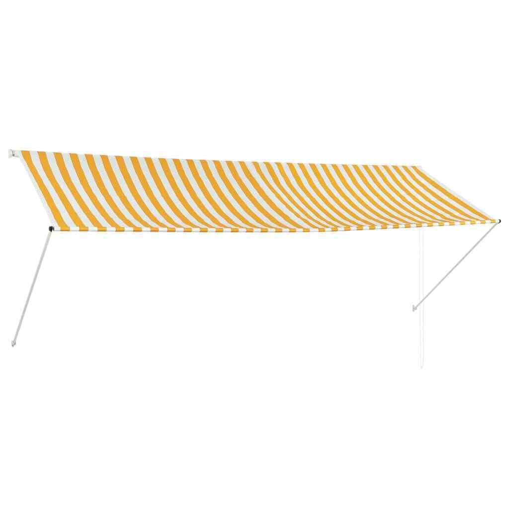 VidaXL Toldo Retráctil 350x150cm Amarillo blancoo Parasol Ventana Terraza Hogar