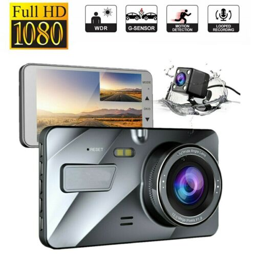 4inch 1080P Dual Lens Car DVR Dash Cam Video Recorder Front and Rear Camera UK
