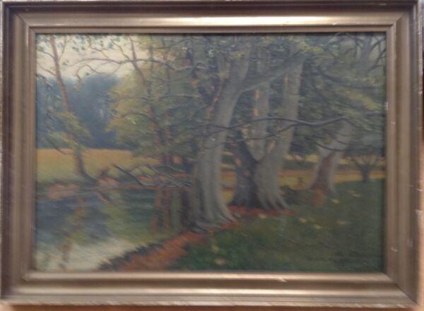 Previsto Albert Petersen 1875 Hayas Am Orilla Pintura Al Óleo Paris ° Bosque Natural Delicias Amadas Por Todos
