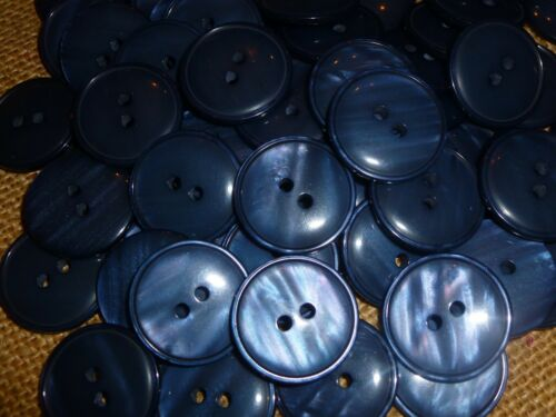 25 x Glossy Dusky Dark Blue Pearlised 22mm 2 Hole Good Quality Buttons MB103