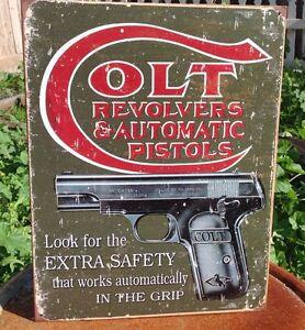 Colt-Revolvers-Automatic-Pistols-Gun-Tin-Metal-Sign-Safety-2nd-Amendment