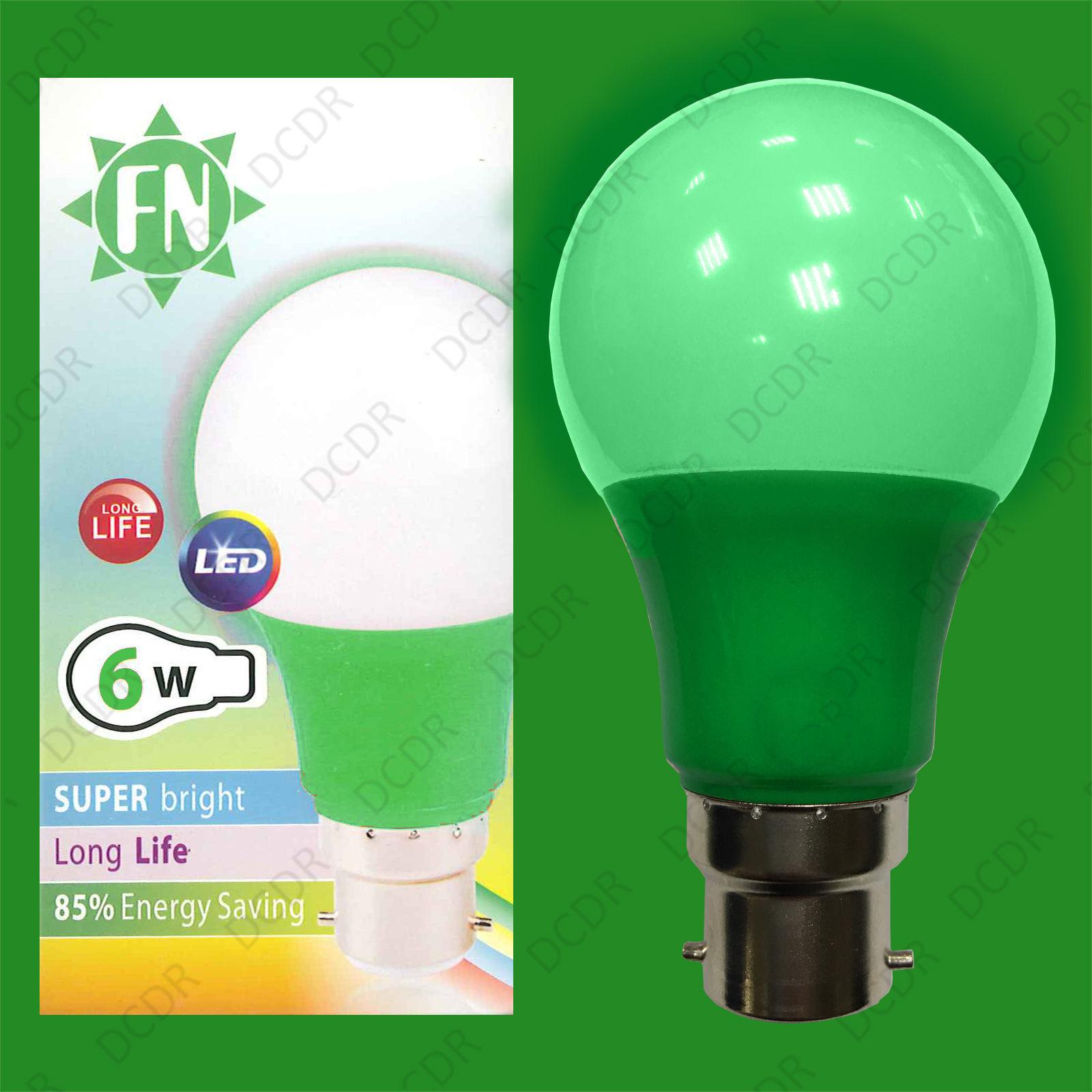 10x 6W LED Grün Colourot GLS A60 Light Bulb Lamp BC B22, Low Energy 110 - 265V