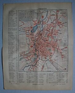 Alte-Karte-Stadtplan-von-Chemnitz-m-Strassenregister-Lithographie-um-1890