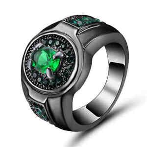 Green-Emerald-Crystal-Wedding-Ring-10KT-Black-Gold-Filled-Men-Women-039-s-Size-6