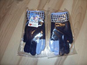 1 Paar Kinderhandschuhe / Fingerhandschuhe / Neu / Blautöne / H 26 üBerlegene (In) QualitäT