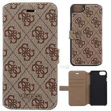 """GUESS 4G Book Case iPhone 7 4,7"""" Cover Schutzhülle Handy Tasche Motiv Logo braun"""