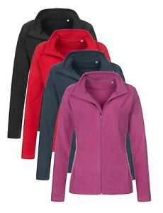 Womens-Ladies-BLACK-RED-BLUE-Breathable-Lightweight-Full-Zip-Micro-Fleece-Jacket