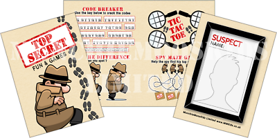 Pack of 12 - Top Secret Fun and Games Activity Sheets - Spy