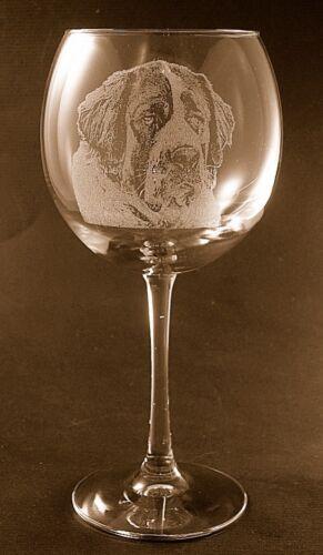Set of 2 New Etched Saint Bernard on Large Elegant Wine Glasses