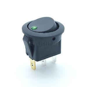 Kfz-Schalter-mit-gruene-LED-beleuchtet-12V-16A-EIN-AUS-Wippenschalter-gruen