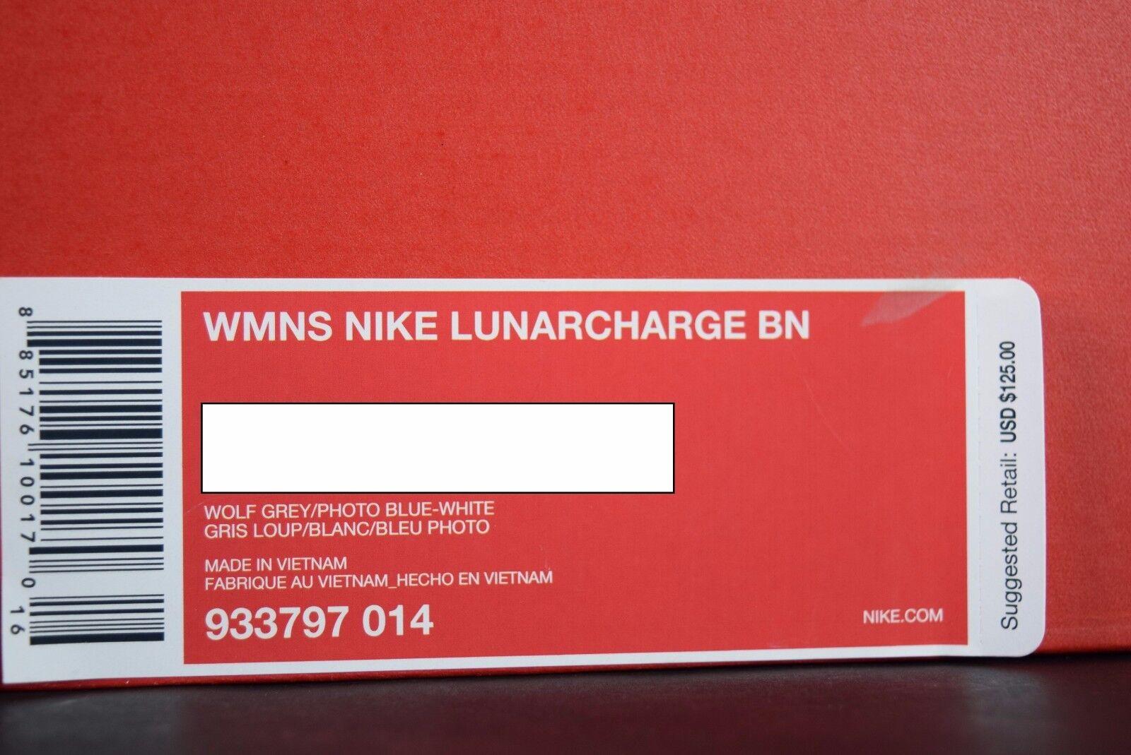 NIB  donna Nike Lunarcharge Lunarcharge Lunarcharge BN MAG 933797 014 sz 7-8 wolf grigio blu bianca scarpe 8ce350
