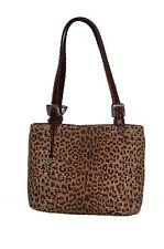 BRIGHTON CHEETAH PRINT SMALL TOTE CANVAS & LEATHER SHOULDER BAG