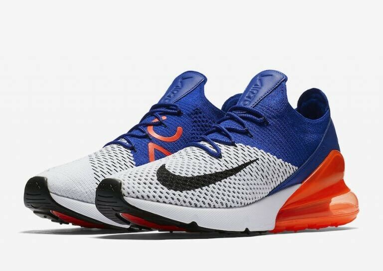 Nike Air Max 270 Flyknit AO1023 101 Racer Blue Orange Men SZ 12