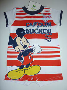 DISNEY-Really-Cute-Mickey-Mouse-CAPTAIN-MICKEY-Romper-Suit-NWT