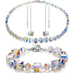 WOW-Vintage-Necklace-Pink-Yellow-Blue-Aurora-Borealis-Glass-Crystal-Bead-lot-w