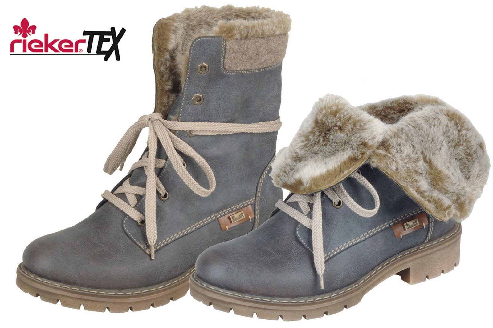 Rieker Tex Damen Stiefel Blau Grau Winter Stiefel Schuhe gefüttert Y9122-45 NEU
