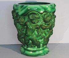 DESNA Malachite Glass Vase Schlevogt Hoffman Art Nouveau Czech Bohemia Green