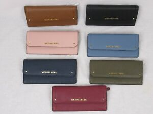 NWT-MICHAEL-KORS-PEBBLED-LEATHER-HAYES-FLAT-WALLET-IN-VARIOUS-COLORS
