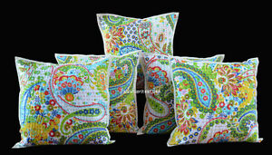 NEW-HANDMADE-INDIAN-16X16-034-KANTHA-WORK-COVER-CUSHION-ETHNIC-DECOR-ART-SET-OF-5