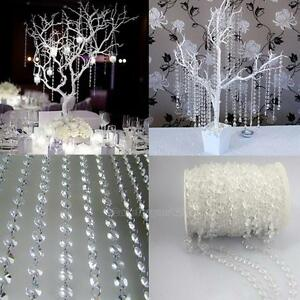 33FT-Garland-Diamond-Strand-Acrylic-Crystal-Bead-Curtain-Wedding-DIY-Party-Decor