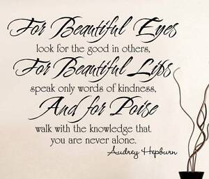 For Beautiful Eyes Audrey Hepburn Quote Decal Wall Sticker Home