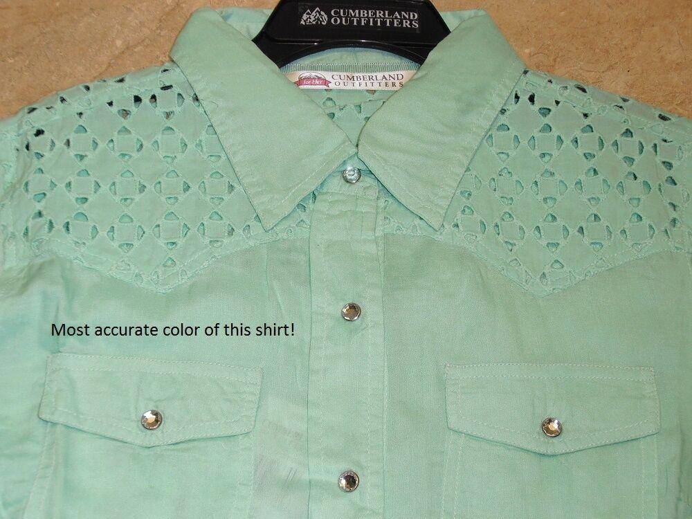 Ladies Mint Green Lace Eyelet Lattice Show Barrel Racing Rodeo Summer Shirt