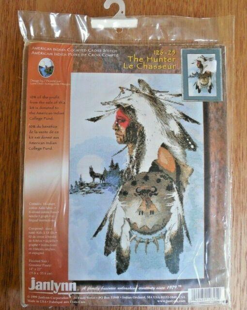 "NEW!  Vintage 1999 Janlynn Cross Stitch Kit #126-25 ""The Hunter""  Indian 14x22"