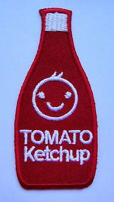 CUTE PRETTY A BOTTLE OF TOMATO KETCHUP Embroidered Iron on Patch Free Postage