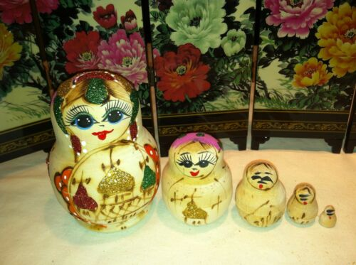 russian nesting doll Set Of 5 Hand made 4 inchs tall Wood Purple US Seller