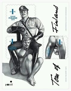 Tom-of-Finland-Finnish-1st-Classe-timbres-feuille-de-3-Fierte-gay-interest-neuf-sans-charniere