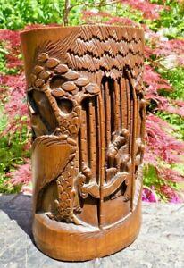 Ancien Porte Pinceaux En Bambou Chine Fin Xixe DÉbut 1900 Riche Et Magnifique
