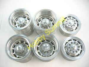 C-Set-1-14-R-C-3-Axle-6X4-Tractor-Truck-ALLOY-WHEELS-SILVER-RIms-re-Tamiya