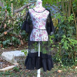 Victorien Esprit Vintage Robe Noir Voile De Fond Transparent q4wOzY