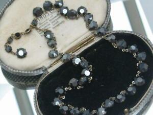 BEAUTIFUL-1950-039-s-rare-open-back-BLACK-DIAMOND-CRYSTAL-RIVIERE-GLAMOUR-neckalce