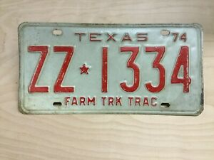 Vintage 1974 Texas Farm Truck Tractor License Plate Ebay