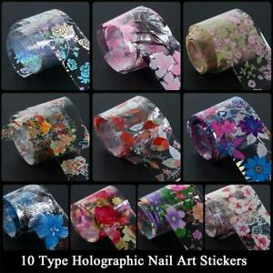 Flower-Transfer-Manicure-Decor-Nail-Foil-Nail-Art-Stickers-Holographic-Decals-LW