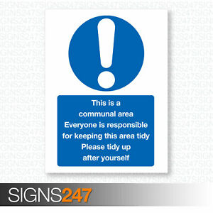 THIS-IS-A-COMMUNAL-AREA-Please-Keep-Tidy-Self-adhesive-sticker-200x150mm