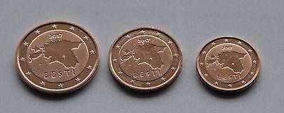 ESTONIA SET of Euro coins 2011-1 cent 2 cent 5 cent UNC