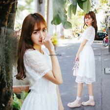 Korean Women Summer Lace Princess A Line Slim Tunic Short Sleeve Beach Dress XL
