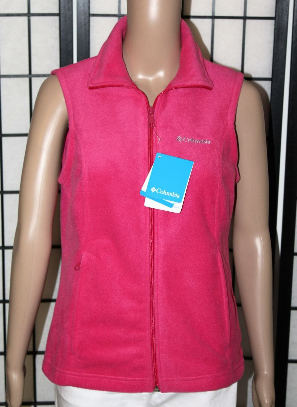 NWT COLUMBIA Sportswear Benton Springs Women's XS Full Zip Pink Fleece Vest NEW