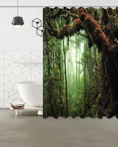 """Forest Deep Bathroom Decor Waterproof Fabric Shower Curtain /&Mat /&12Hook 72//79/"""""""