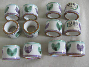 Caleca-Violetta-Hand-Painted-in-Italy-Purple-Green-Napkin-Ring-s-13-Avail