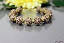 Glass Jewels Gold Armband Perlen Animal Print Fimo Länge 20,5 cm  #H049