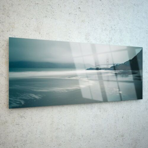 Wall Art Glass Print Canvas New Picture Large Sea Beach Fog Sky p113813 125x50cm
