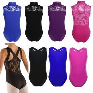 UK-Girl-Ballet-Dance-Leotard-Gymnastic-Turtle-Neck-Sleeveless-Jumpsuit-Dancewear