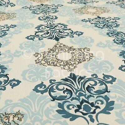 Sustancia METERWARE algodón zarcillos petrol amarillo turquesa ornament art deco tela decorativa