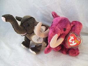 feeb0301658 Ty Beanie Babies Baby Lot of 2 Elephants Colosso   Trumpet w  Tags ...